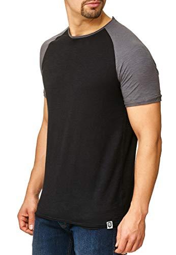 Indicode Herren Willbur Tee T-Shirt mit Rundhals-Ausschnitt aus 100% Baumwolle | Regular Fit Kurzarm Shirt einfarbig od. Kontrast Markenshirt in 30 Farben S-3XL für Männer Black/Iron 3XL