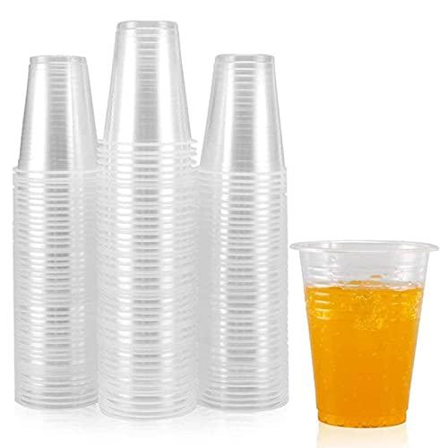 N\C Taza de plástico Transparente 100-220 ML, Taza de plástico Transparente desechable, Taza de Cerveza, Ideal para Fiestas en la Piscina, Viajes, Barbacoa