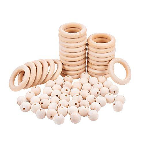 PandaHall 50 stücke Macrame Holz Perlen, 25 stücke Holz Ringe Kreise für DIY Anhänger Anschlüsse Schmuck Machen Macrame Wandbehang Handwerk DIY Kit