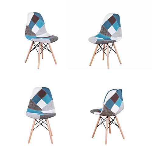 Juego de 4 sillas de comedor modernas, tapizadas con tejido Patchwork, base de madera con tacos; ideal para salón, comedor, cafeterías, salas de espera, etc.