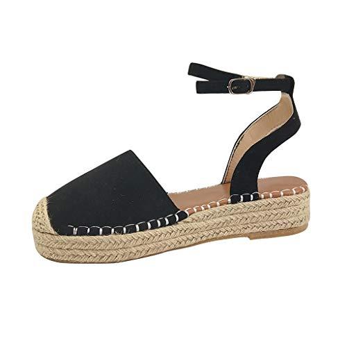 Sandalias Mujer Verano 2019 Plataforma - Logobeing Sandalias Mujer Cuña Zapatos De Tacón Alto Alpargatas De Playa Fiesta (37, Negro)