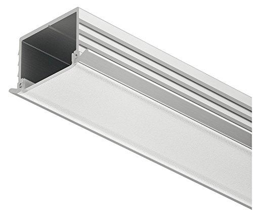 Gedotec Aluminium-Profil Einbauprofil 2500 mm Profilleiste für LED-Streifen | Schiene Alu silber matt | Streuscheibe milchig zur Möbel-Beleuchtung | 1 Stück - LED-Schiene flach zum Einlassen im Holz