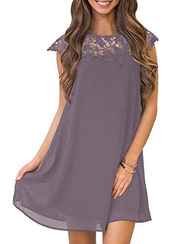 YOINS Sommerkleid Damen Kleider A-Linie Loose Kleid Elegant Spitzekleid Minikleid Rundhals Strandkleid Strandmode B-lila M