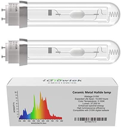 iGrowtek 2 Pack CMH 315W 3100K Grow Light Bulb CMH 315 Grow Bulb High Par Full Spectrum Ceramic product image