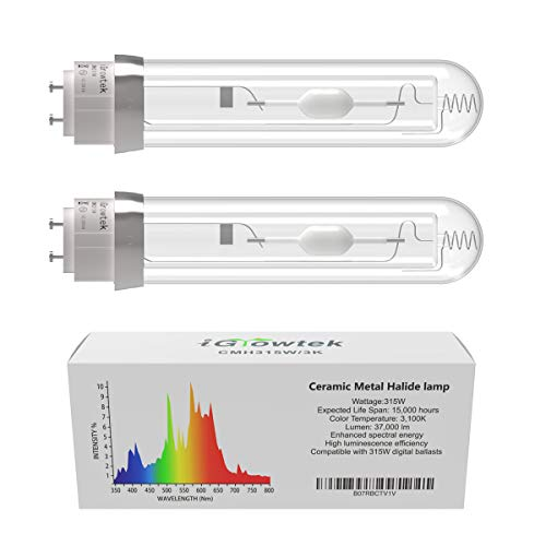 iGrowtek 2 Pack CMH 315W 3100K Grow Light Bulb, CMH 315 Grow Bulb,High Par Full Spectrum,Ceramic Metal Halide Grow Lamp