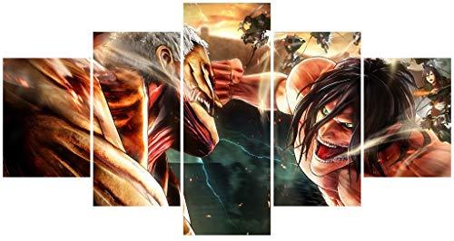 Hunbeauty art Poster sur toile « Attaque des Titans » - Affiche animée AoT pour dortoir, chambre à coucher, décoration murale sans cadre