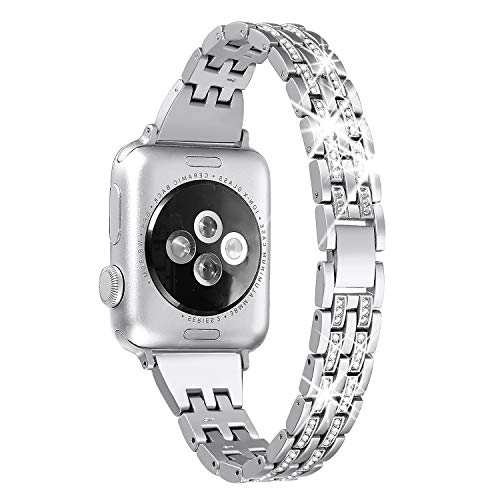 Secbolt Slim Bling Bandas Compatible Apple Watch Band 38 mm iWatch Series 3, Serie 2, Series 1, Diamond Rhinestone Metal Jewelry Band Strap, 4 Colores Disponibles, Plateado (38mm)