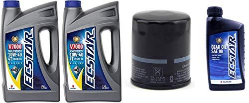 Suz uki ECSTAR V7000 10W-40 Marine 4-Stroke Engine Oil, 2 Gal with 16510-96J10 Oil Filter and 1 Quart Suzuki Ecstar Lower Unit Hypoid Gear Oil