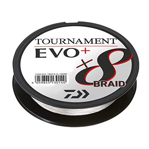 Daiwa Tournament X8 Braid EVO+ - Sedal de pesca trenzado (0,16 mm, 135 m), color blanco