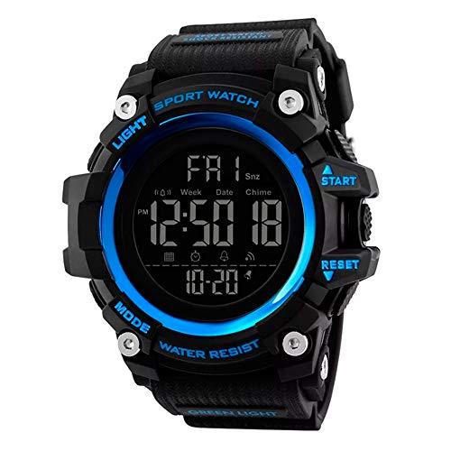Reloj para Hombre Digital, Resistente a los Golpes, Multifunciones, Cronómetro, Temporizador, Calendario, Luz Led, con Correa de Silicona Flexible, y Ajustable. (Azul)