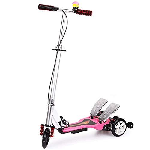 SZNWJ Ygqtbc Scooter - Ruedas Kick Scooter for los niños y los niños Muchachas y los Muchachos, de Altura Ajustable, Aprender a dirigir con Extra Ancho Intermitente (Color : Pink)