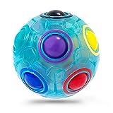 Vdealen Challenge Puzzle Speed Cube Ball, Juego de Combinación de Colores, Divertido Rompecabezas de Juguete Fidget (Bola Arcoiris Azul)