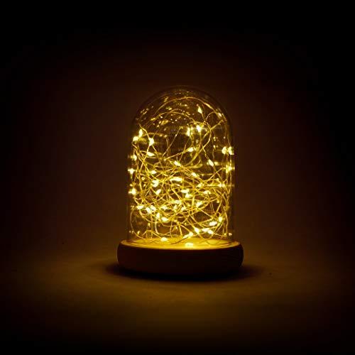 Decorazioni Natale Campana cupola natalizia Alta 14 cm con Base in legno e 50 Micro LED a Luce Bianca Calda alimentate a batterie partenopeautensili®