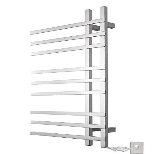 Mijogo Hot handdoekwarmer voor badkamer verwarmde wasdroger 9 vierkante bar spiegel polish 90 W 29,5 '' * 22 ''
