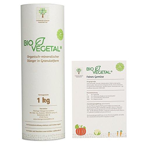 BioVegetal Feines Gemüse-Dünger mit Guano und natürlicher Langzeitwirkung durch Fixierung der Nährstoffe durch Ton-Humus-Komplex, 1kg Hülse