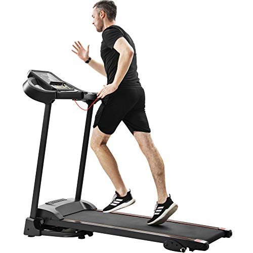 Water-chestnut Folding Electric Treadmill Running Machine, Motorized Power Running Fitness Jogging Incline Machine for Home Gym (A242A)