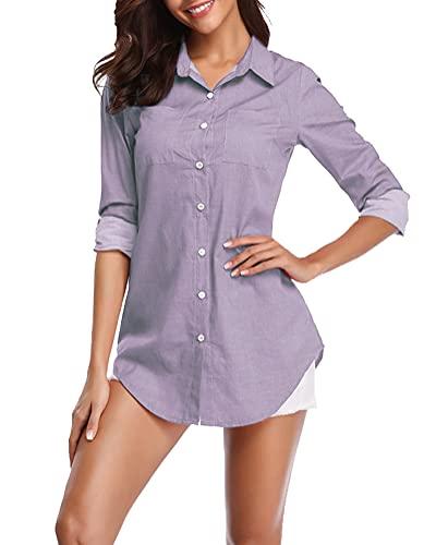 Fuinloth Women's Chambray Button Down Shirt, Long Sleeve Cotton Blouse, Long Jeans Tunic Top Lavender X-Large