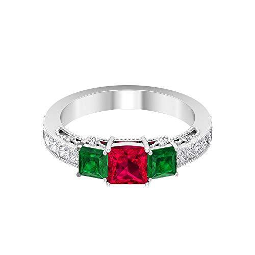 Anillo de tres piedras de rubí certificado SGL de 0,7 ct, diamante de corte princesa de 0,92 ct, anillo de boda esmeralda de 0,7 ct, 14K Oro rosa, Size:EU 46