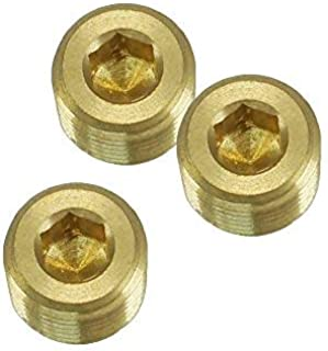 NIGO JNS Brass Pipe Fitting, Hex Counter Sunk Plug, 3/4 Inch NPT Male Pipe - 3 Pack