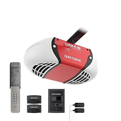CRAFTSMAN 1.25 HP Smart Garage Door Opener - myQ Smartphone Controlled - Ultra Quiet Belt Drive, Wireless Keypad Included, Model CMXEOCG981, Red