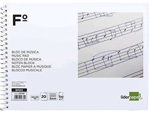 Liderpapel Bloc Musica Pentagrama 3Mm Folio Apaisado 20 Hojas 100G/M2