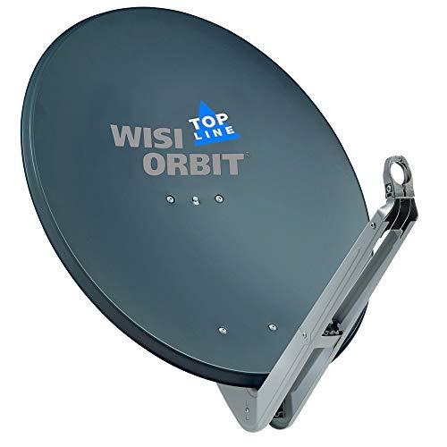 WISI Orbit Topline Satelliten Offset-Antenne OA85H in Basaltgrau – 85cm Reflektor aus Aluminium mit 40mm LNB-Halterung, Feedarm und Mastschellen – Komplette Sat Antenne mit Montagezubehör