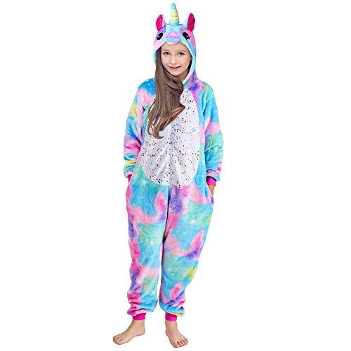 Einhorn Strampler Pyjama Kinder Flanell Onesie Jumpsuit Kostüm Cartoon Nachtwäsche Halloween...