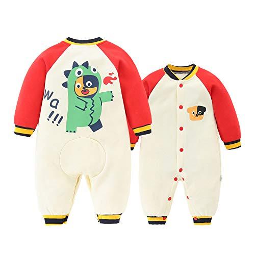 RIQWOUQT Bebé Onesies,Body De Bebé con Estampado De Cachorro De Color Crema para Hombres Y Mujeres En Invierno Pijamas para Hombres Y Mujeres En Invierno Ropa De Bebé Abrigada para Bebé Recién Nacido