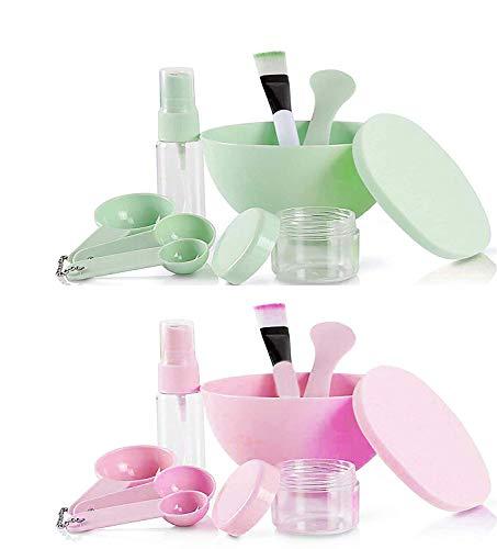 GCOA DIY Gesichtsmaske Rührschüssel Set,Gesichtsmaske Mixing Mask Tool Kit mit Gesichtsmaske Pinsel Gesichtsmaske Schüssel Stick Spatel Messgeräte Puff (Grün & Pink, 2er Set, 9 in 1)
