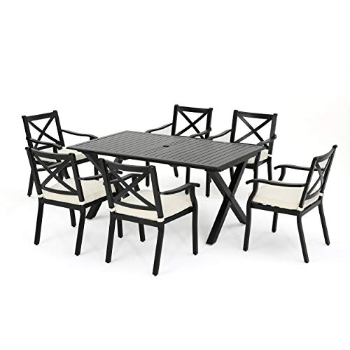 GDFStudio Outdoor ~ Eowyn 7 Piece Outdoor Cast Aluminum Dining Set with Expandable Table