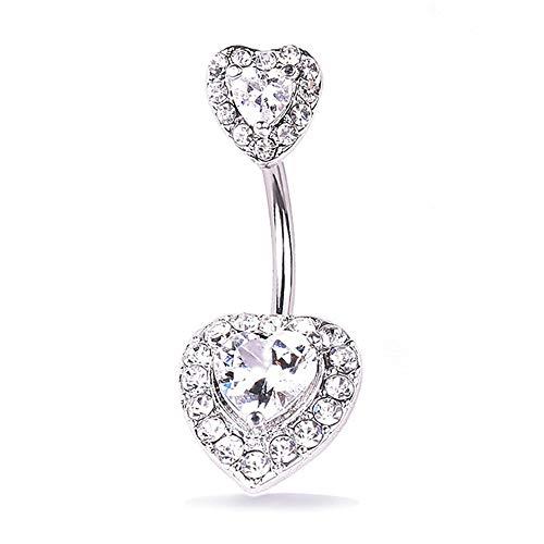 FFSM Dangly Belly Button Ringen Diamant Hartvormige RVS navelstreng Ring Body Sieraden Anti-allergische Dikke Naald Ochre Loodvrij Nikkel voor Vrouwen Meisjes