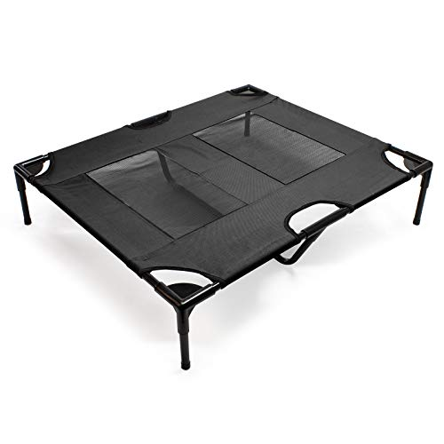 WilTec Lit de Camp pour Chien Outdoor Lit surélevé Chat L 92x77x20cm Noir Tissu Oxford Jusqu'à 25 kg