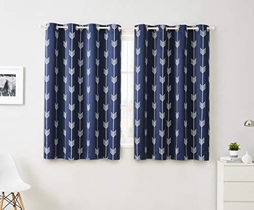 "HLC.ME Arrow Printed Blackout Room Darkening Thermal Grommet Window Curtain Drape Panels for Living Room - Set of 2 - Navy Blue - 63"" inch Long"