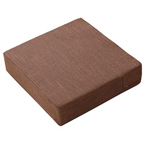 XHNXHN Almohada cuadrada para el suelo, cojín de asiento japonés Tatami sofá perezoso algodón y lino color sólido con cremallera, futón para beber té D 50 x 50 x 10 cm