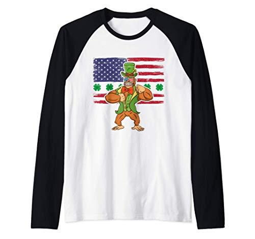 Gafas Biden Día de San Patricio Duende Gorila Sombrero Trébo Camiseta Manga Raglan