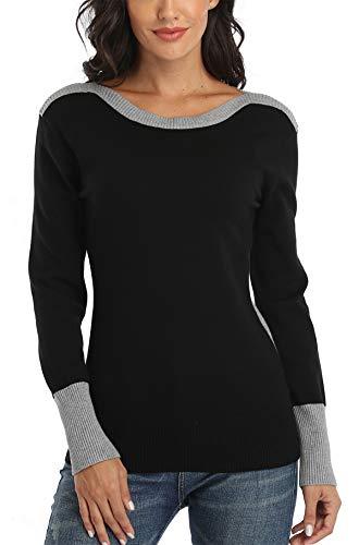 Dilgul Strickpullover Damen Pullover Langarmshirt Pulli Sweatshirt Tunika Tuniken Bluse Shirt Schwarz Medium