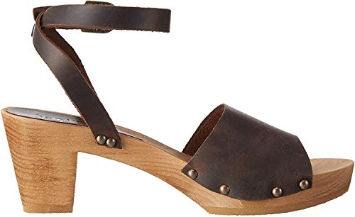 Sanita Damen Yara Square Flex Sandal Knöchelriemchen, Braun (antique brown 78), 41 EU