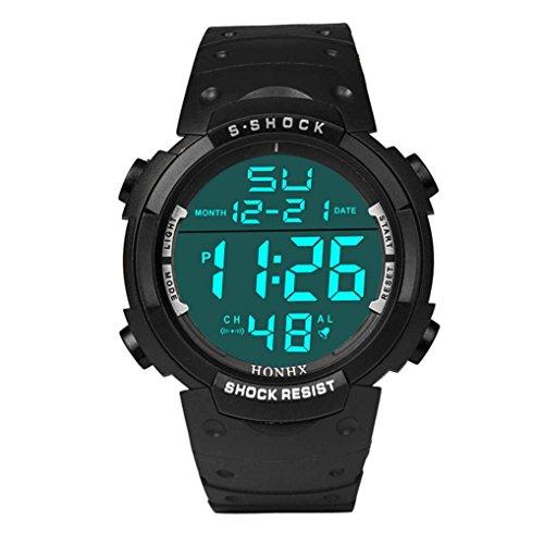 KanLin 1986 Degli uomini impermeabili moda Data cronometro digitale a cristalli liquidi del ragazzo di gomma dell'orologio di sport (nero)
