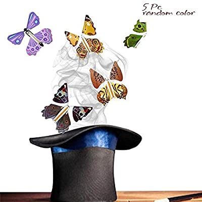 5Pc Magic Flying Butterfly Wind Up Toys for Kids Girls Butterfly Stocking Flying Butterfly Card Surprise for April Fools Day Gift