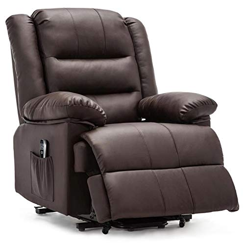 DEVAISE OKIN Dual-Motor Power Lift Recliner Chair for Elderly, Living Room Sofa Chair with Remote Control+USB Port, Faux Leather Upholstery, Dark Brown