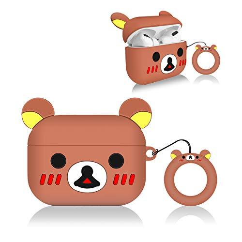 Rilakuma Airpods Pro Schutzhülle, 3D-Cartoon-Charaktere, weiches Silikon, 3 Hüllen mit Schlüsselanhänger, Kawaii-Anime-Zubehör, Geschenk für Mädchen, Jungen, Teenager (Braunbär)
