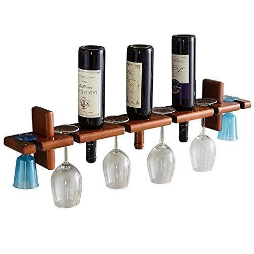 COLiJOL Botellero de Madera Montado en la Pared para Alenamiento de Vino con Organizador de Copas, Estante de Pared, con Capacidad para 6 Copas de Vino Y 3 Botellas de Vino, 81 × 11 × 16 cm