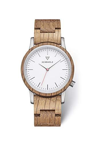 KERBHOLZ Reloj de Madera - Classics Collection Wilma Reloj analógico con un Cuarzo de Gama Alta para Mujeres, Caja y Correa adatapable de Madera Maciza y Natural, Ø 36 mm
