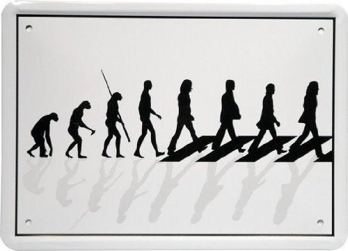 Plåtskylt 15 x 21 cm Evolution Musiker Spruch Reklame Retro Nostalgi MJ 76