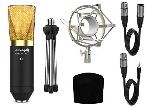 Audibax, Berlin 1800 Gold Pack, Micrófono Condensador, Para Estudio de Grabación o Directos, Patrón Polar Cardioide, Gran Diafragma, Kit Incluye Araña, Antivientos, Trípode y Cables (10181120)