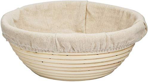 eoocvt 5.1 inch Round Banneton Brotform Bread Dough Proofing Rising Rattan Handmade Basket with Linen Liner Cloth - 13 x 6cm