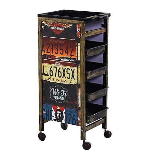 WQCART Metall Retro Professionelle Friseur Trolley Salon Friseur Schönheit Lagerung Haar Schubladen Roller Cart Spa,RetropatternA