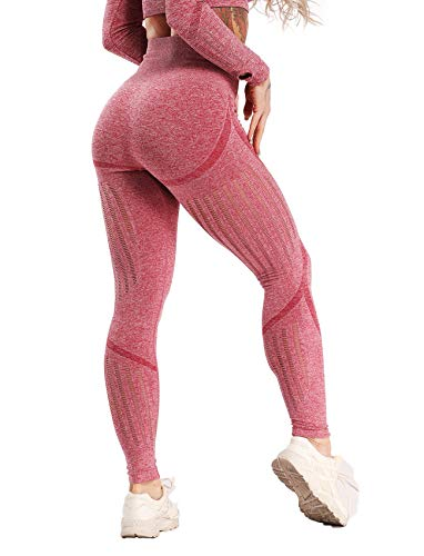 Women's High Waist Active Energy Leggings Slimming Seamless Compression Fit Pants Workout Tights Tummy Control M