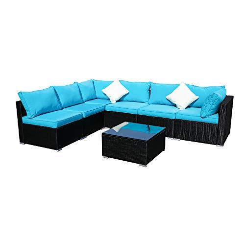KOOLWOOM Outdoor Patio Furniture Set,Sectional Wicker Sofa Washable Waterproof PE Cushions,Backyard,Pool (7, Blue)