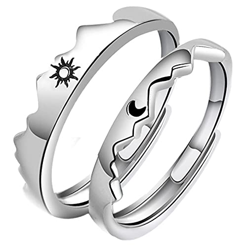 Adjustable Sun and Moon Ring Set for Couples Silver Matching Promise...